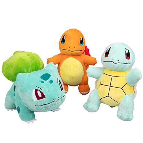 "Pokémon Plush Starter 3 Pack - Charmander, Squirtle & Bulbasaur 8"" Generation One Stuffed Animals"