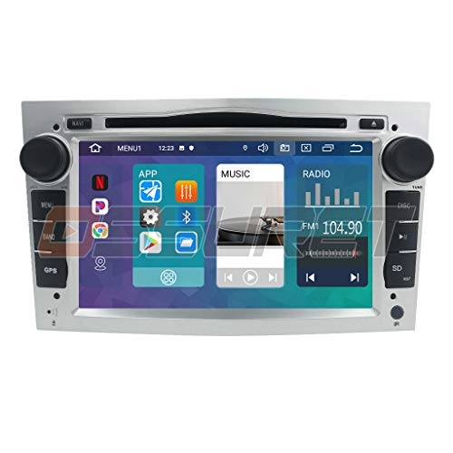 Doppelte Lärm-Auto-Stereo-WiFi-Auto-Multimedia-System mit Android 10 OS 7 Zoll-Touch Screen BT-SWC-DVR RDS für OPEL Antara/Corsa C/Zafira stützen IOS u. Androiden Spiegelverbindung (Silber)