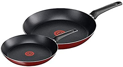 Tefal Essential B3119022 Set of 2 Frying Pans Diameter 20/26 cm Red