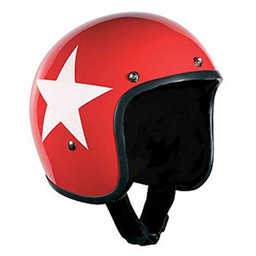 Bandit Helm Star Red Jet Futter-schwarz leicht bequem Roller, Größe:S(55-56cm), Sports-Farbe:Red
