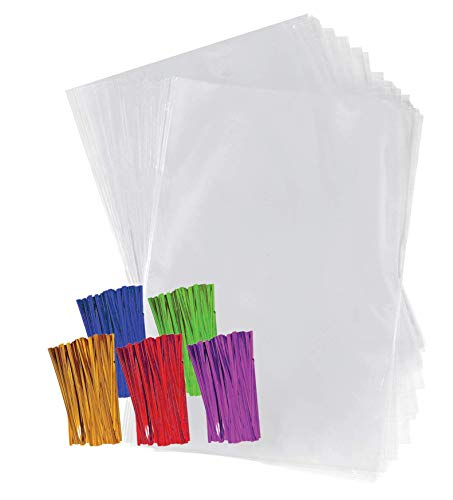 Clear Plastic Cellophane Treat Bags 8'x10' with 4' Colored Twist Ties 200 Pack Cello Bags Plastic Gift Bags, Party Favor Bags