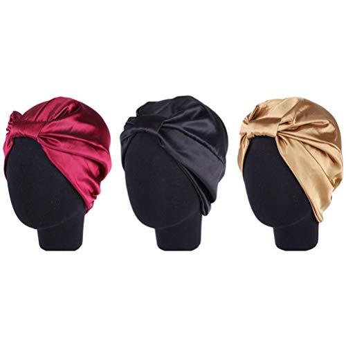EXCEART 3pcs Satin Silk Lined Sleep Cap Beanie Hat Elastic Night Headwear Turban Sleep Cap Black Wine Red Khaki