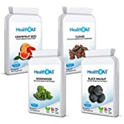 Strong Intestinal Health Set: Grapefruit Seed Extract, Wormwood, Black Walnut, Cloves 4x90 Capsules (not Tablets). Vegan. Made in The UK by Health4All