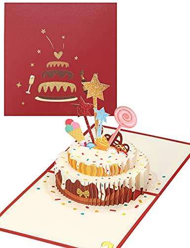 yumcute 3D Pop Up Geburtstagstorte Grußkarte Geburtstagskarte mit Umschlag Geschenk für Ihre Familie, Freunde und Liebhaber(Rot)