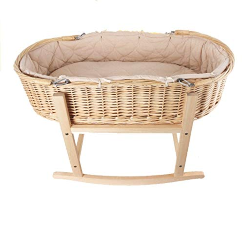 Great Features Of RRH-Cribs Crib Travel Cots Baby Cot Solid Wood Cradle Bed Rattan Baby Cart Baby St...