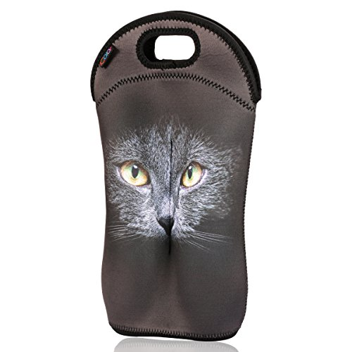 iColor insulated Cat Sports Wine Bottles Carrier Wine tote Holder Covers for Champagne,Wine,Beer Bottles,Beverages,Containers,Soft Drinks,Sodas,Baby Bottles,thick Neoprene,Machine-Washable Wine bag-1