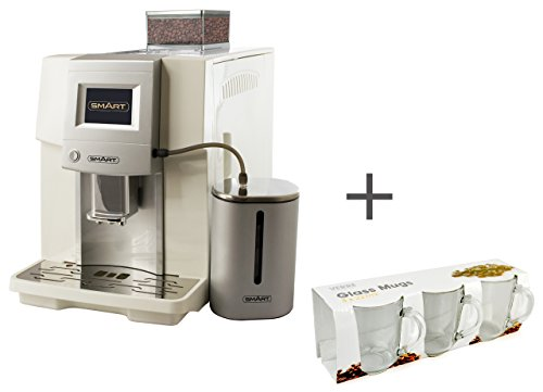 SMART Barista - Espresso Machine Bundle with Free Latte Glasses - High Performance Bean to Cup Coffee Maker - Great for Espresso, Cappuccino, Latte - White, Stainless Steel SB6000