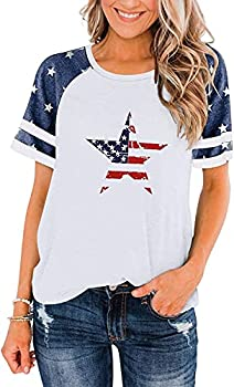 BANGELY American Flag T Shirt Women Stars Stripes 4th of July Shirt Raglan Short Sleeve Graphic Patriotic Top Tees  White Small s