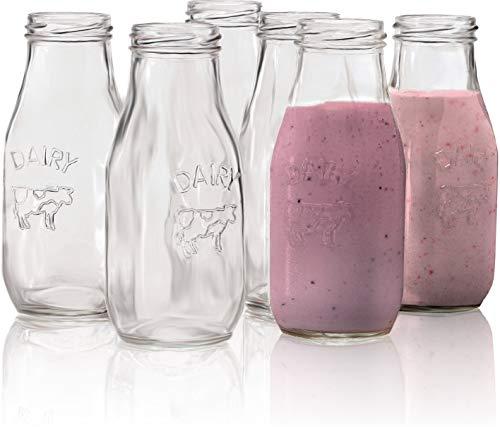 Circleware 67039 Dairy Milk Glass Bottles, 10.5 oz, Clear