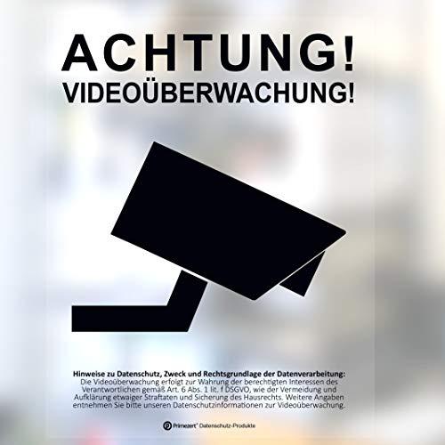1x DSGVO+BDSG Datenschutz-Aufkleber-Schild Info-Aushang Video-Überwachung transparent DIN A6
