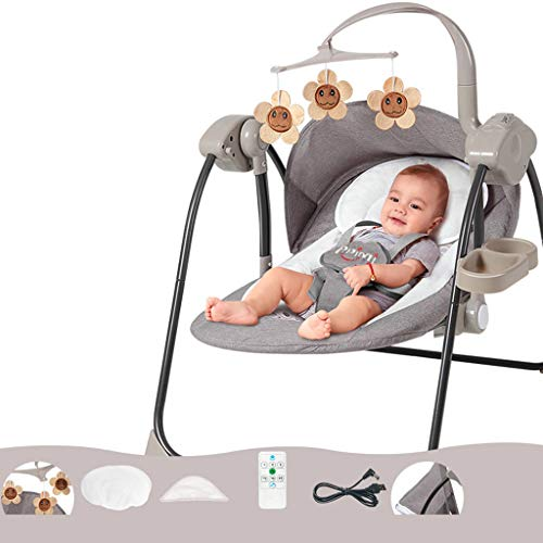 Strele Soothing Portable Baby Swing,Comfort Electric Bluetooth Baby Rocking Chair with Remote,Intelligent Music,Toys,Mosquito Nets,Pillows,Windshield,gray