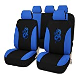 AUTOYOUTH Airbag Compatible Car Seat Covers Universal Fit Full Set Car Seat Protectors Dragon Pattern Car Seat Accessories, Black/Blue