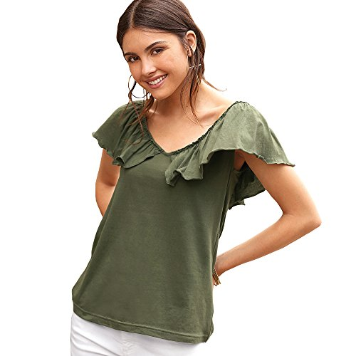 VENCA Camiseta Escote v con Tiras Cruzadas y Volante Fruncido Mujer by 013727,Verde Musgo,S