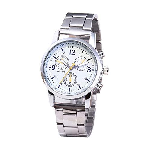 Reloj de Lujo Reloj de Cuarzo de Acero Inoxidable Ultrafino de la Malla de los Hombres de Lujo Reloj de Pulsera de Reloj Masculino (Color : White)