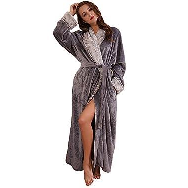 SUNBABY Thicker Long Flannel Sleepwear for Women and Man Imitation Fur Collar Bathrobes Warm Couple Pajamas (XL, Grey)