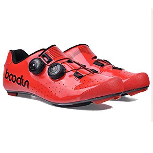 AGYE Zapatillas de Ciclismo, Zapatillas de Ciclismo de Carretera para Hombre con SPD,Hebilla de Zapato Giratoria Bicicletas de Carreras de Carretera,Red-UK10=(EU44)=US11