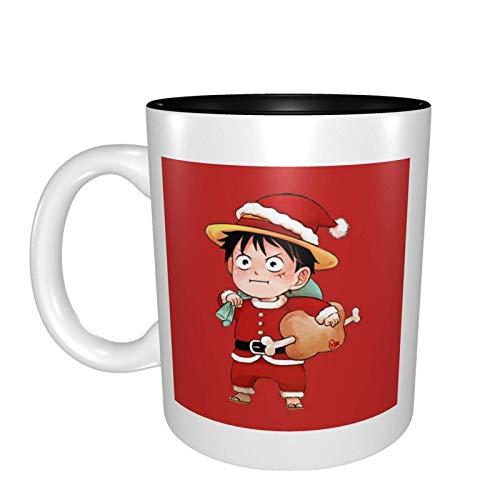 One_Pie_Ce Taza de anime de 11 onzas Taza de doble cara de lujo - Taza de café personalizada de doble color Taza de té Novedad Regalo presente Cerámica blanca para el Festival de Acción de Gracias de