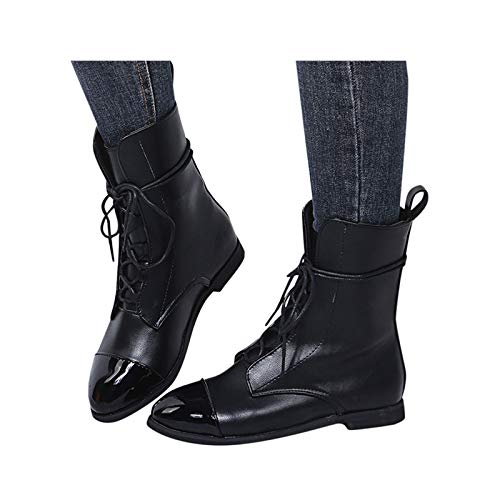 Toimothcn Women Retro Soft Artificial Leather Round Toe Color Matching Lace Up Flat Mid Calf Boots Shoes Black