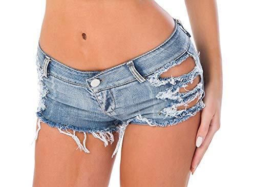 DELEY Frauen Sexy Cut Off Denim Jeans Shorts Mini Hot Pants Clubwear Niedrige Taille Beach Shorts Blau Größe S