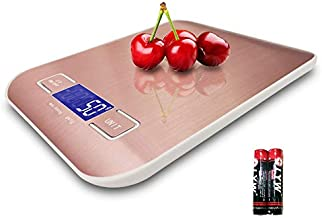 Food Scales Digital Weight Grams and oz for Kitchen,1g-5000g(11lb),Provide Precise Proportioning for Baking,Stainless Steel Platform Waterproof,NKEOSN (Rose Gold)
