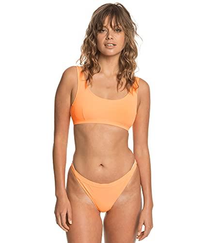 Quiksilver - Braguita de Bikini de Punto Acanalado - Mujer - L - Naranja