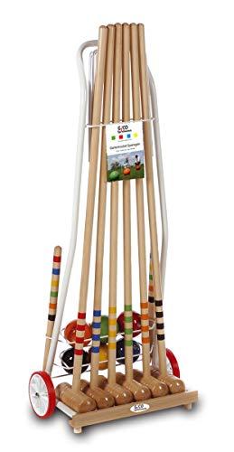 GICO Juego de croquet de alta calidad: mazos 100 cm divertido juego para el aire libre o el jardín para niños y adultos, con componentes de calidad fabricados en madera maciza. 3126