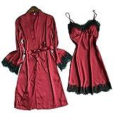 Mymyguoe Damen Negligee Set Groe Gren Wimpern Dessous V-Ausschnitt Nachtwsche Spitze Nachthemd Dessous Sets Kimono Morgenmantel + Nachtkleid