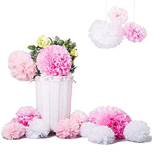 XHCP 15 Pieces Tissue Paper Pompoms Flowers Ball Pom Pom Decoration Paper Kit for Birthday Wedding Baby Shower Parties Main Decorations and Party Decoration Pink