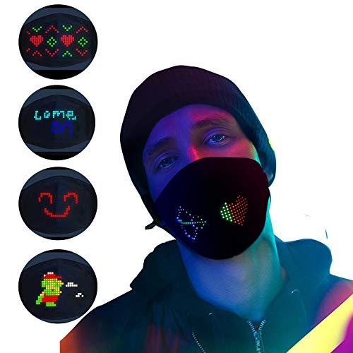 Voice Activated Led Mask Programmierbar, Sprachaktivierte Luminos Mask App-Steuerung Led Bluetooth Gesichtsschutz, Unterstützung Alle Sprachen (A-Schwarz-Großbildschirm)