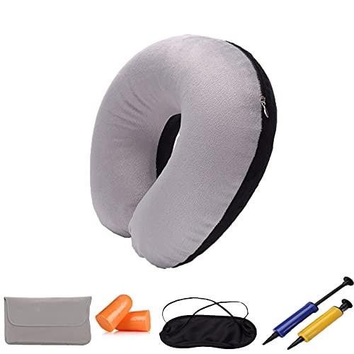 Almohada inflable de camping(2 pcs) - El juego de viaje plegable y liviano contiene una máscara para cubrir los ojos con sueño. 2 tapones para los oídos e inflador Compacto y ligero,Gray black