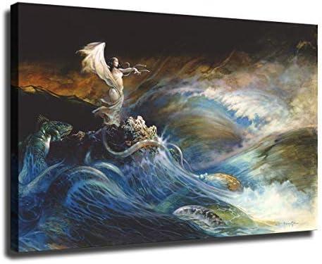 激安通販販売 FINDEMO 新作入荷 Sea Witch Poster Painting on Art Wall Bedroom Canvas Dec