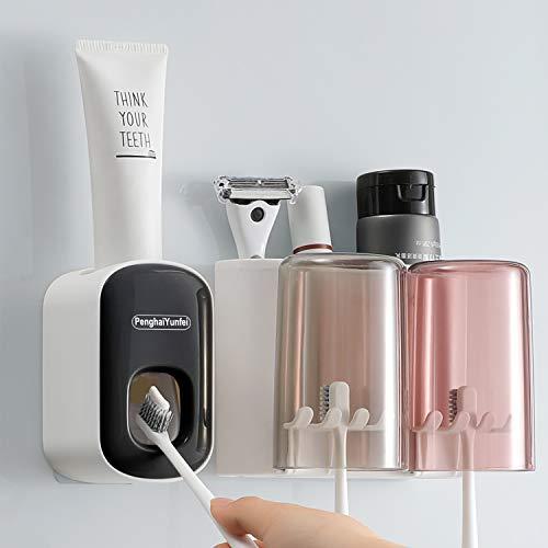 Set di dispenser automatico di dentifricio portaspazzolino, con ventosa super adesiva, spremiagrumi per dentifricio per bagno domestico a mani libere a parete per bambini