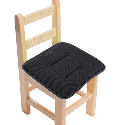 Big Hippo - almohadillas para orejas para silla de niños con lazos de tela de malla para silla, cojín de goma antideslizante para respaldo cuadrado, almohadilla de espuma de memoria para comedor, hogar, 12 x 12 pulgadas (negro, 1 unidad)