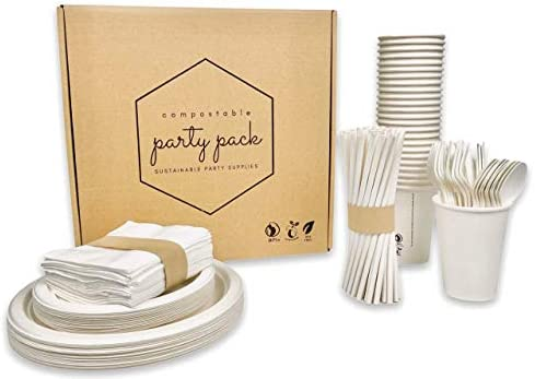 225Pcs Serves 25 guests Compostables Party Pack Disposable Eco Friendly Dinnerware Set White product image
