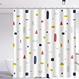 BXYLFF Duschvorhang 180x180, Wasserabweisend Waschbar Anti-Schimmel Duschvorhäng Anti-Bakteriell aus PEVA für Badewanne für Dusche mit 12 Duschvorhängeringen, Weiß, Geometrische Figuren
