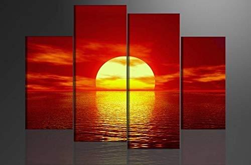 Schilderij - Zonsondergang, Rood/Geel, 130X80cm, 4 luik - Canvas - Muurdecoratie