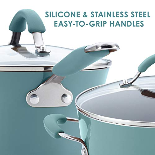 Rachael Ray 16348 Cucina Nonstick Pasta Stock Pot with Lid and Spout, 8 Quart, Agave Blue