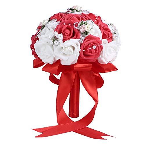 Matrimonio Bouquet romantico Fiori artificiali Bouquet di rose Bouquet da sposa per la decorazione domestica di nozze del ricevimento all'aperto(Rosso)