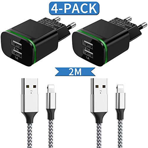 LUOATIP USB Ladegerät und Ladekabel 2M, Phone Datenkabel Nylon Kabel mit 2.1A 5V Netzteil Ladeadapter Stecker Charger Adapter Netzstecker Ladeset für iPhone XS/XS Max/XR/X 11 8 7 6 6S Plus SE 5S/5C