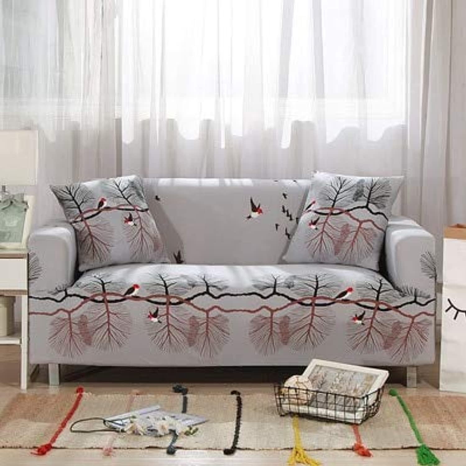 Leaves Pattern Sofa Covers Elastic Stretch Universal Sectional Throw Couch Corner Cover Cases for Furniture Armchairs Home Deco   18, Two seat Sofa
