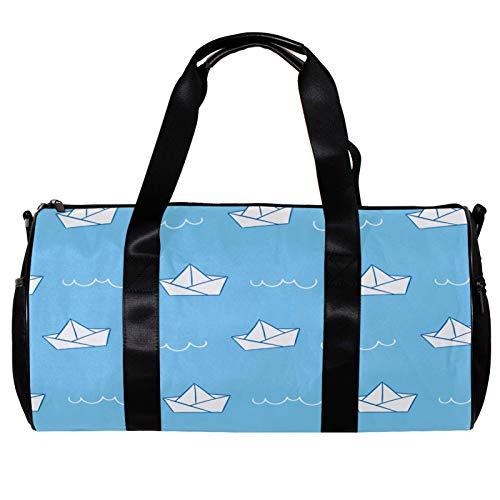 Runde Sporttasche mit abnehmbarem Schultergurt, Papierschiff-Muster, Trainingshandtasche für Damen und Herren