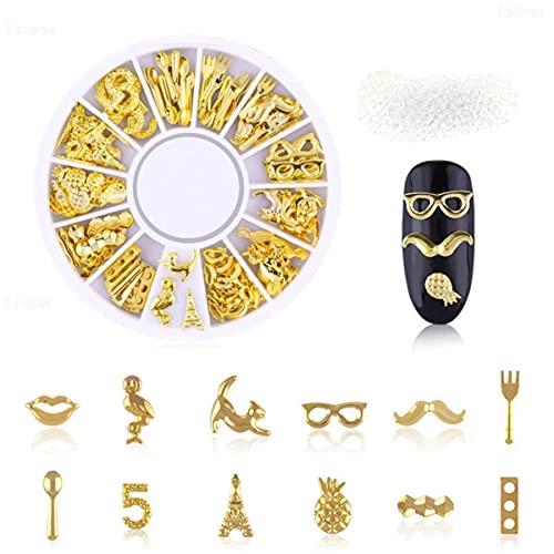 1 caja de tamaño mixto pequeña bola de acero inoxidable de metal diamantes de imitación de arte decoraciones de caviar perlas de cuentas negro oro plata rosa-8