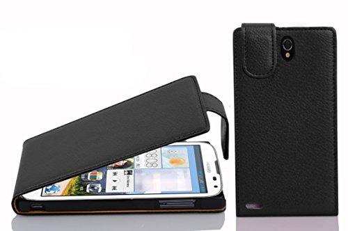 Cadorabo Hülle für Huawei Ascend G610 in Oxid SCHWARZ - Handyhülle im Flip Design aus Strukturiertem Kunstleder - Hülle Cover Schutzhülle Etui Tasche Book Klapp Style