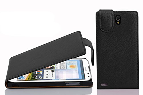 Cadorabo Hülle für Huawei Ascend G610 - Hülle in Oxid SCHWARZ – Handyhülle aus Strukturiertem Kunstleder im Flip Design - Case Cover Schutzhülle Etui Tasche