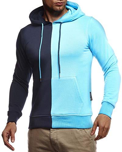 Leif Nelson Herren Hoodie Pullover für Männer mit Kapuze Pulli Kapuzenpullover Slim Fit Longsleeve Sweatshirt Langarm LN8337 L Türkis-D. Blau