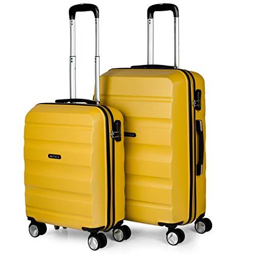 ITACA - Juego Maletas de Viaje Rígidas 4 Ruedas Trolley 55/61 cm ABS. Resistentes y Ligeras. Mango y Asas. Candado. Pequeña 55X40X20 cm y Mediana. T71615, Color Mostaza