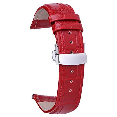 Pulsera Women Reloj Pulsera niña 14mm Correa de Reloj Leather Rojo Brazalete de Cuero para Reloj Pulseras de niñas pequeñas