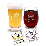 King & Queen - Beer Pint Glass & Wine Glass Combo with Coaster Set and Gift Box - Funny Novelty...