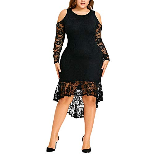 Aniywn Women Off Shoulder Floral Lace Party Dress Plus Size Scoop Neck Stretchy Mini Dress Ruffle Party Dress Black