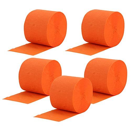 Gobesty Serpentinas de papel crepé, 5 rollos 25 M Decoraciones de papel Streamer para fiesta de cumpleaños Boda Navidad y varios festivales, naranja